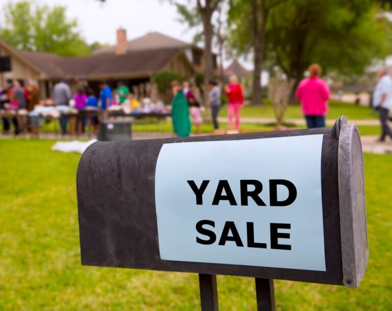 Yard sale sign on mailbox